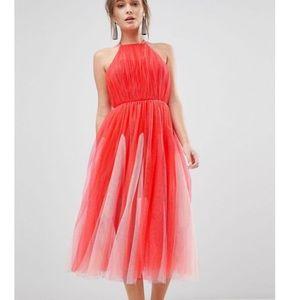 ASOS design halter tulle godet midi dress